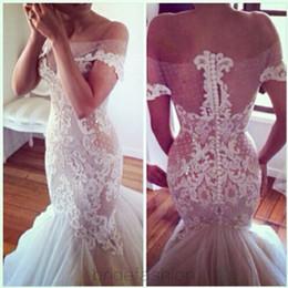Mermaid Wedding Dresses Off Shoulder Sexy Lace Wedding Gowns Sweep Train Wedding Dress Custom Made