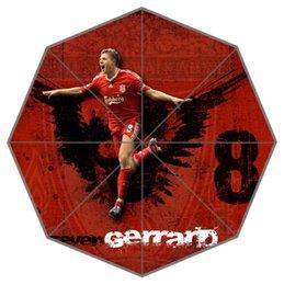 Wholesale Uk Footballer Steven Gerrard Dark Red Auto Foldable Umbrella for Fans