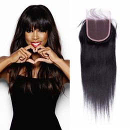 "Wholesale Lace Top Closure Mix Texture Unprocessed Brazilian Human Hair 4""x4"" 10""-16"" Free Middle 3Part Closure"