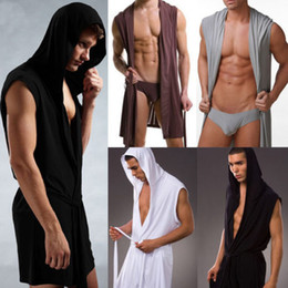 Wholesale 2 in Summer Vogue Sexy Hooded Robe For Man Ice Silk Sleeveless Pajamas Bathrobe Yoga Wear g