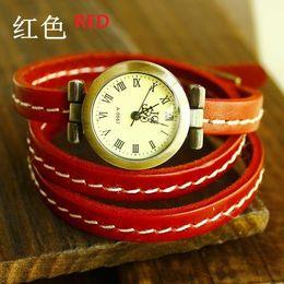 Wholesale-3 ring spirally-wound brief watch genuine leather bracelet watch women's cowhide watch women's vintage fashion table