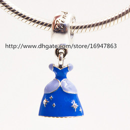 100% S925 Sterling Silver Cinderella Dress Dangle Charm Bead with Blue Enamel Fits European Pandora Jewelry Bracelets