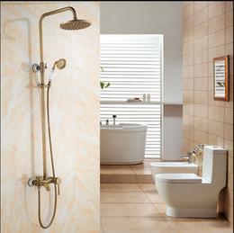 Wholesale New Antique Brass Shower Faucet Bathtub Mixer White And Blue Porcelain Hand Unit