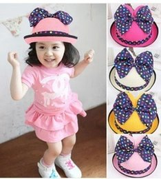 Wholesale Stingy Brim Hat Children Caps Fashion Cute Kids Baby Summer Outdoor Bucket Hats Cap Sun Beach Beanie Mickey Cat Ears Bow Sunscreen Hats WJ76
