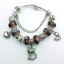 Pulseras del encanto del gato de la manera plata europea del estilo que platean el infinito para los hombres de Murano rebordean la pulsera de las pulseras del estilo DIY desde gatos de perlas fabricantes