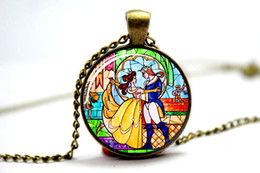 Wholesale 10pcs Beauty and the Beast necklace Flowers Rose pendant necklace glass cabochon necklace