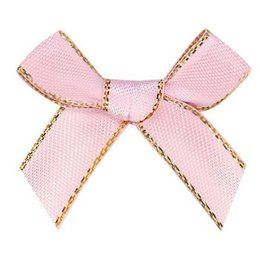 9mm Grosgrain ribbon with Gold bow,Gift packsg,underwear DIY accessories 100pcs