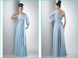 Long Formal Sleeve Chiffon Bridesmaid Dress One Shoulder Sheath Floor Length Ruffle Simple Prom Evening Gowns