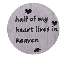 20PCS lot Half Of My Heart Lives In Heaven Stainless Steel Floating Locket Plates Fit For 30mm Glass Magnetic Lockets
