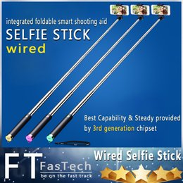 Cheapest!Selfie Monopod Extendable Stick Cable Take Pole Handheld Holder Remote Button For iphone 6 samsung S6 free shipping 50 sets lot