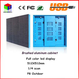 Brushed aluminum cabinet 512X512mm Outdoor full-color P8 display 1 4 scan outdoor RGB LED sign  P8 LED electronic screen