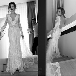 Wholesale Lihi Hod Sexy Long Sleeves Lace Wedding Dresses Sheath Deep V Neck Backless Vintage Fitted Brides Dresses Custom Made