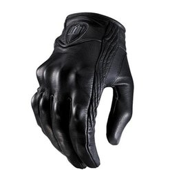 Wholesale New ICON Goat Leather Pursuit Gloves Racing Bike Sport Cycling Motorcycle Full Finger Gloves Size M L XL