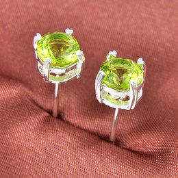 Wholesale 90 off Half Dozen Pairs Newest Holiday Gift Jewelry Round Peridot Gemstone Sterling Silver Plated USA Stud Wedding Earrings