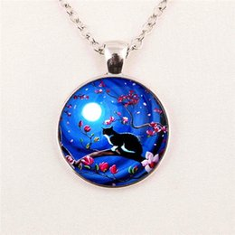free shipping Wholesale pendant cabochon Blue Moon and cat Galaxy pendant Round jewelry glass gemstone necklace 214