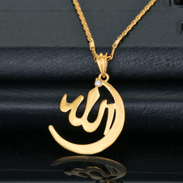 Wholesale Allah Pendant Jewelry New Item Trendy Women Men Gift Sale K Real Gold Plated Rhinestone Islamic Necklaces Pendants