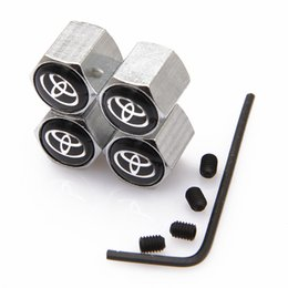 Wholesale Lockable Black Toyota Anti Theft Dust Cap Tire valve caps With Car Logo Badges Emblems Black Toyota With Retail Box SZYX