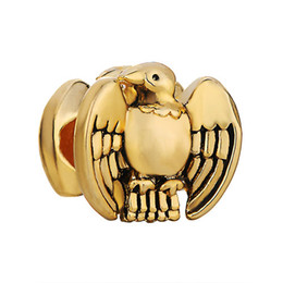 22K Gold Plating Eagle Birds Lucky Charms In Gold Plating Lucky European Bead Fit Pandora Bracelet