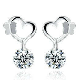 925 sterling silver jewelry love heart diamond earrings charm charms ethnic vintage noble earring new arrival