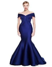 Wholesale 2016 Navy Blue Mermaid Stain Prom Dresses Stretch Duchess Ruffles Sweep Train Off The Shoulder Evening dresses Celebrity Dresses New Arrival