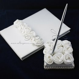 Wholesale Silk Wedding Guest Book - Free Shipping Wedding Guest Book and Pen Set With Decorative White Silk Roses Wedding Decoration Party Ceremony Supplies