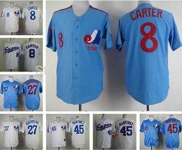 Wholesale Montreal Expos Jersey Vladimir Guerrero Blue Gary Carter White Pedro Martinez Baseball Jersey Baseball Wear Athletic Mix Orders