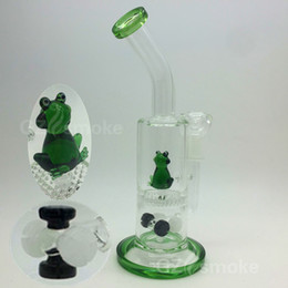 Cute Green Frog Two Functions glass water bong Colorful Animal Eagle Fish Honeycomb Oil Rigs Glass Bongs dab heady honeycomb ash hookah