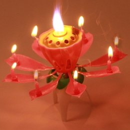 Wholesale Hot PC Beautiful Blossom Lotus Flower Candle Birthday Party Cake Music Sparkle Cake Topper Rotating Candle EJ670976