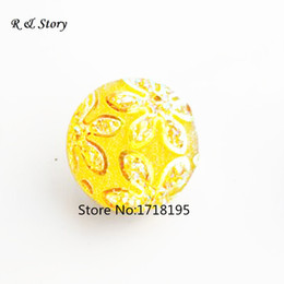 Snaps Jewelry Yellow Flower Cameo Ginger Snap Buttons For Snap Button Jewellery 18mm SB_297