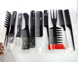 Black 10PCS Plastic Hair Comb Set PP Comb Pick Kit TT Hair Comb Kit Styling Hair Tail Comb Cutting Comb Set