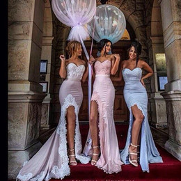 Long Bridesmaid Dresses Strapless Sweetheart Front Split Lace Bridesmaid Gowns Floor Length Sexy Bridesmaid Wear 2016 New Arrival Mermaid