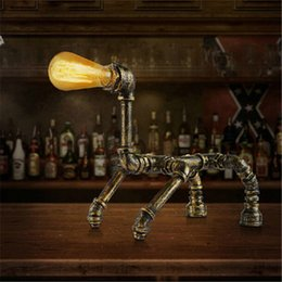 Wholesale Creative personality Dog Water Pipe Table Lamp Retro Industry American Style Table Light Bar Cafes Study Room Desk Lamp
