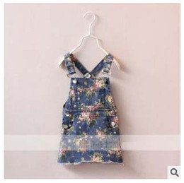 Wholesale 5pcs Girl s Denim Suspender Dress Summer Kids Dresses Red Yellow Flower Full Page Printed Loose Casual Leisure Frock B0335