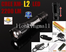 AlonefireE007 CREE XM-L2 LED 2200Lumens Zoom Flashlight Torch with 1x18650 Battery+AC Charger+Car charger+holster