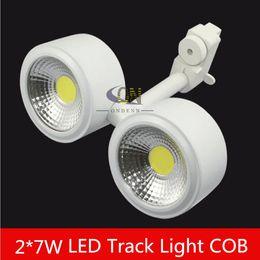 Retail Sale 2X7W 14W COB LED track lighting AC85-265V aluminum white shell rail ceiling light spotlight