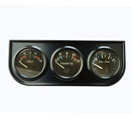 Wholesale 52MM ELECTRICAL TRIPLE IN GAUGE KIT WATER TEMP OIL PRESSURE VOLTS BLACK COLOR AUTO GAUGE