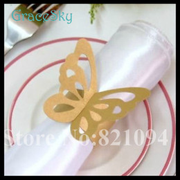 50Pcs lot Free Shipping Laser Cutting Paper Towel Buckle Butterfly Wedding Decorations Napkin Ring for Wedding Favors Party Table Decoration