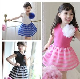 flower girl organza dress girls fly sleeve dress kids Summer vest dress 3d flower girl dress free shipping in stock