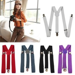 Wholesale Adjustable Multi Colors Unisex Adjustable Pants Y back Clip on Suspender Brace Belt for Lady Men Child KBD