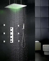 Wholesale 500 mm led bath shower mixer rainfall dual head showers and ceiling mistfall square led shower kits