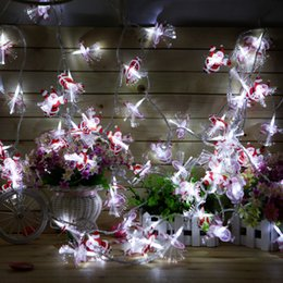 Wholesale US Stock M LEDS Santa Claus Shaped Fiber Optic LED String Christmas Fairy Lights Lighting Colorful Lights for Xmas Party Deoration
