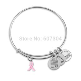 Wholesale New Design Zinc Alloy Antique Silver Plated Plated Breast Cancer Pink Enamel Ribbon Charm Bangle Jewelry Made In China