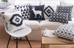 8 Styles Black and White Custom Cushion Covers Modern Decor Deer Geometric Soft Throw Pillows Cases Plaid Decorative Pillow Covers