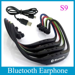 Sports Stereo Bluetooth Earphone 4 Colors Wireless S9 Handsfree Neckband Headphone Universal Bluetooth Cellphone Headset With Mic EAR044