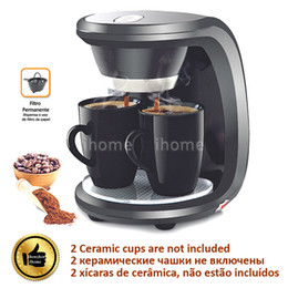 High Quality 2 Cups Black Color Coffee Machine(Without Ceramic Cup),American or Nescafe Drip Coffee Maker Machine, Free Shipping