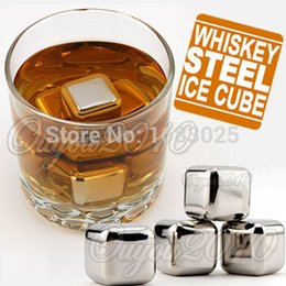 Wholesale Hot Sale New Stainless Steel Ice Cubes Cool Glacier Rock Neat Drink Freezer gel Wine Whiskey Stones Great Gift