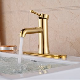 """2016 High Quality Single Swivel Lever Bathroom Basin Faucet 8"""" Cover Gold Deck Mount"""