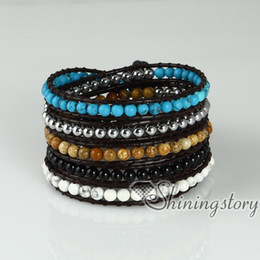 five layer beaded wrap bracelets semi precious stone jade agate turquoise rose quartz natural stone jewelry Fashion jewellery