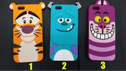 """Animales libres en venta-Caso del silicón 3D Cubierta suave de la piel de la parte posterior de la historieta del gato encantador del monstruo del tigre para el iPhone 6 4.7 """"más 5.5"""" DHL libre"""