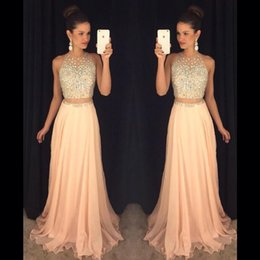2016 New Arrival Coral Blingbling Two Pieces Prom Dresses Sheer Crew Neck Blingbling Beaded Crystals Backless Chiffon Long Party Gowns